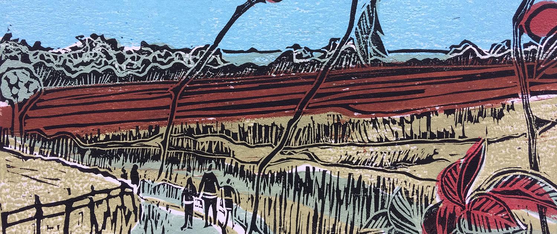 Walking Back to Ketton Linoprint