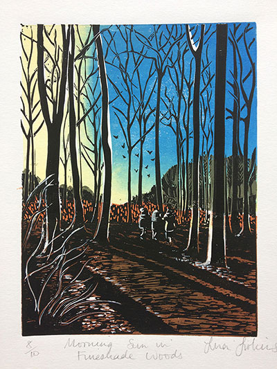 Morning Sun In Fineshade Woods Linoprint